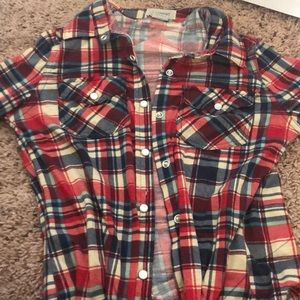Teens flannel red/cream